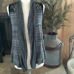 Maurice's Gray Striped Lace Back Cardigan